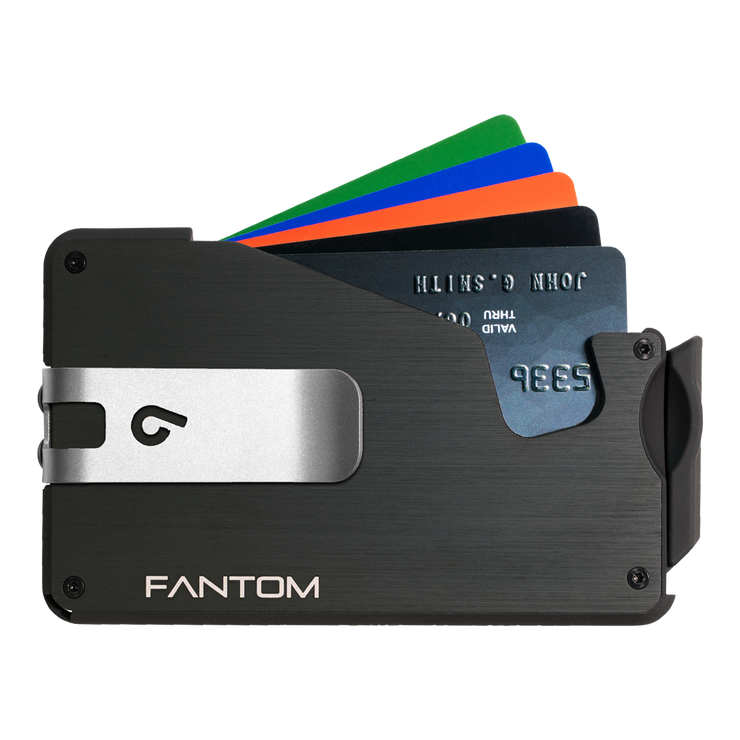 Fantom S 13 Regular Aluminium Wallet (Black) - Silver Money Clip