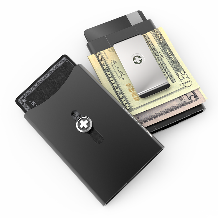 Wagner SwissWallet Original Aluminium Wallet (Jet Black) - Easy Action Button