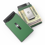Wagner SwissWallet Original Aluminium Wallet (Sage Green) - Easy Action Button