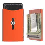Wagner SwissWallet Original Aluminium Wallet (Deep Orange) - Money Clip