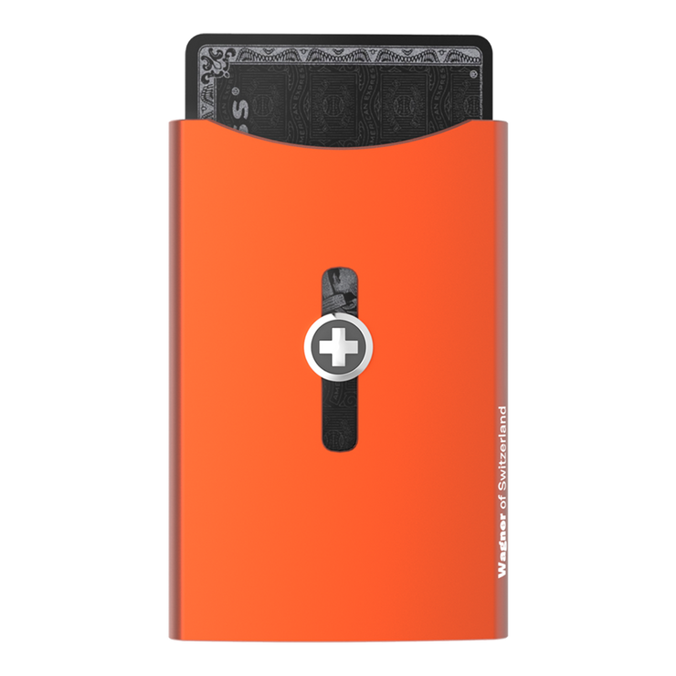 Wagner SwissWallet Original Aluminium Wallet (Deep Orange) - Front View