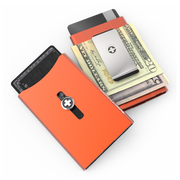 Wagner SwissWallet Original Aluminium Wallet (Deep Orange) - Easy Action Button