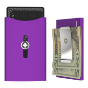 Wagner SwissWallet Original Aluminium Wallet (Royal Purple) - Money Clip