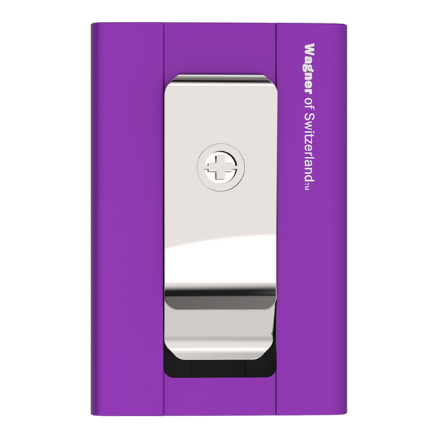 Wagner SwissWallet Original Aluminium Wallet (Royal Purple) - Back View