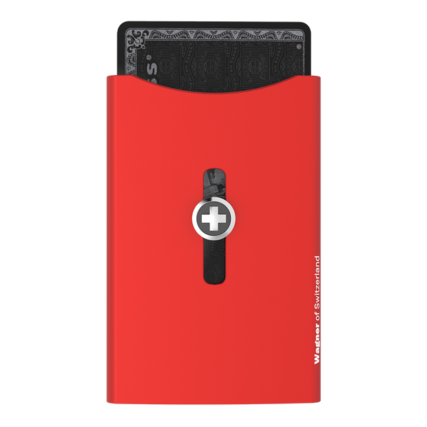 Wagner SwissWallet Original Aluminium Wallet (Flash Red) - Front View