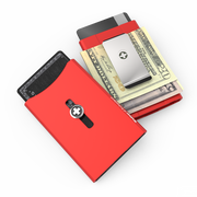 Wagner SwissWallet Original Aluminium Wallet (Flash Red) - Easy Action Button