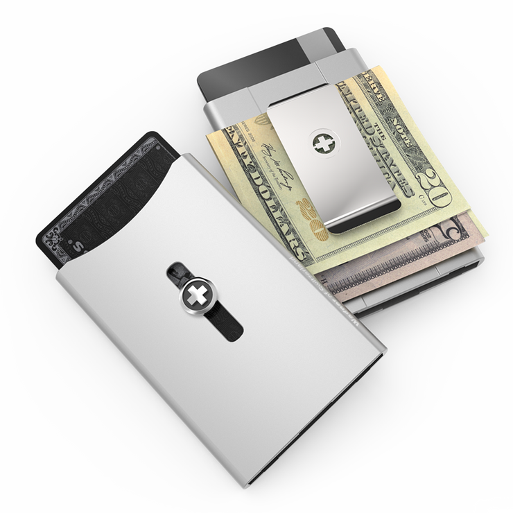 Wagner SwissWallet Original Aluminium Wallet (Metallic Silver) - Easy Action Button
