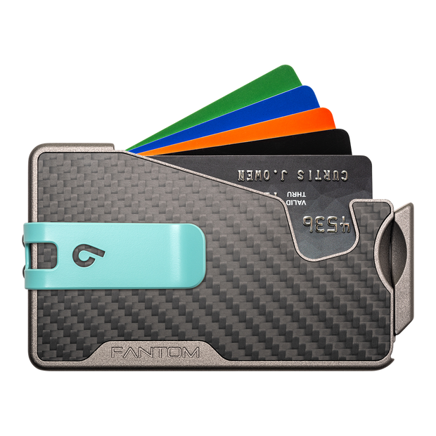 Fantom R 7 Carbon Fibre Wallet - Teal Money Clip