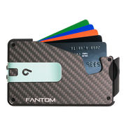 Fantom S 7 Regular Carbon Fibre Wallet - Teal Money Clip