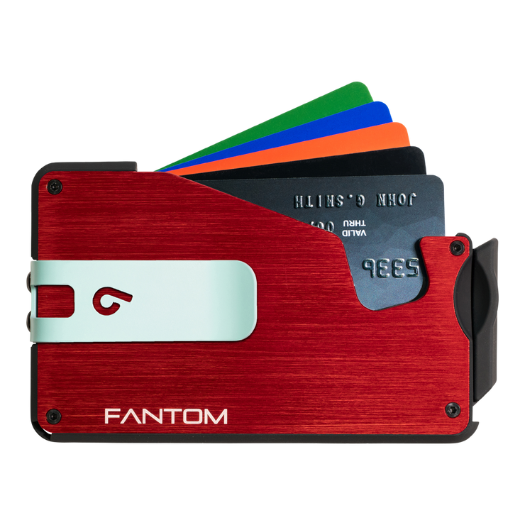 Fantom S 13 Regular Aluminium Wallet (Red) - Teal Money Clip