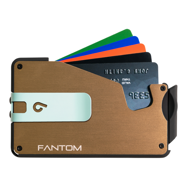Fantom S 10 Coin Holder Aluminium Wallet (Gold) - Teal Money Clip