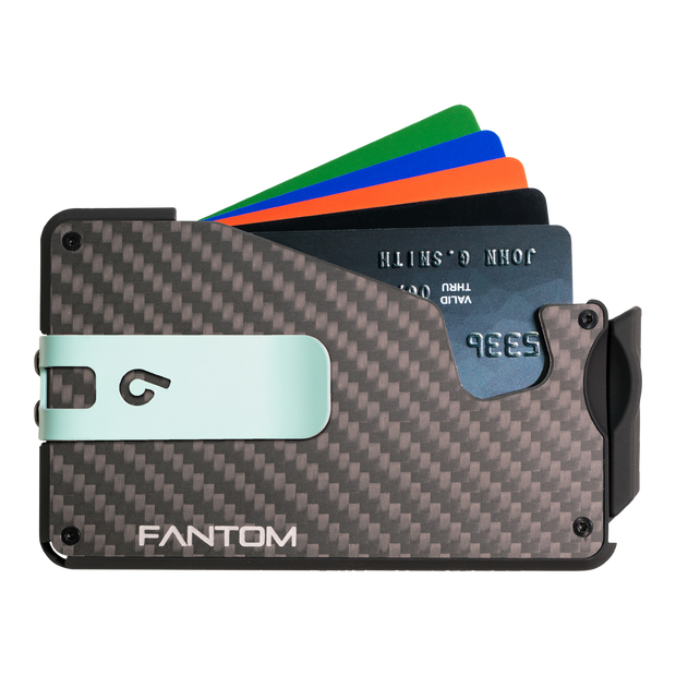 Fantom S 10 Coin Holder Carbon Fibre Wallet - Teal Money Clip
