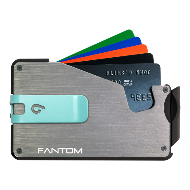 Fantom S 10 Coin Holder Aluminium Wallet (Silver) - Teal Money Clip