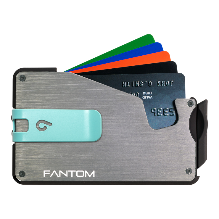 Fantom S 13 Regular Aluminium Wallet (Silver) - Teal Money Clip