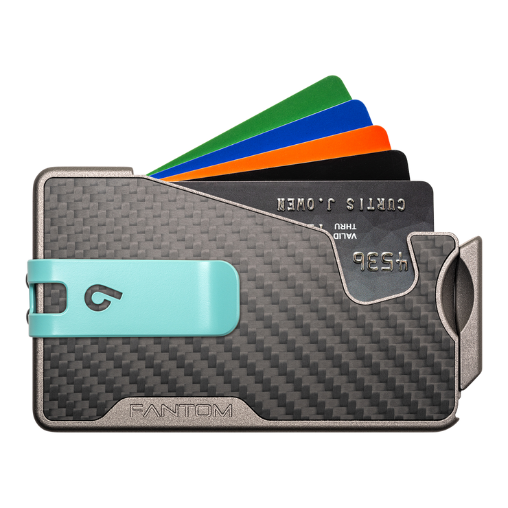 Fantom R 13 Carbon Fibre Wallet - Teal Money Clip