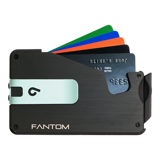 Fantom S 7 Coin Holder Aluminium Wallet (Black) - Teal Money Clip