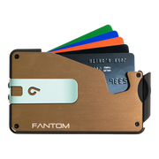 Fantom S 13 Regular Aluminium Wallet (Gold) - Teal Money Clip