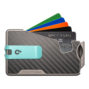 Fantom R 10 Carbon Fibre Wallet - Teal Money Clip