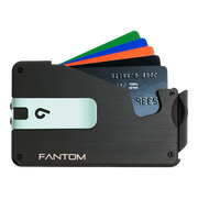 Fantom S 13 Regular Aluminium Wallet (Black) - Teal Money Clip