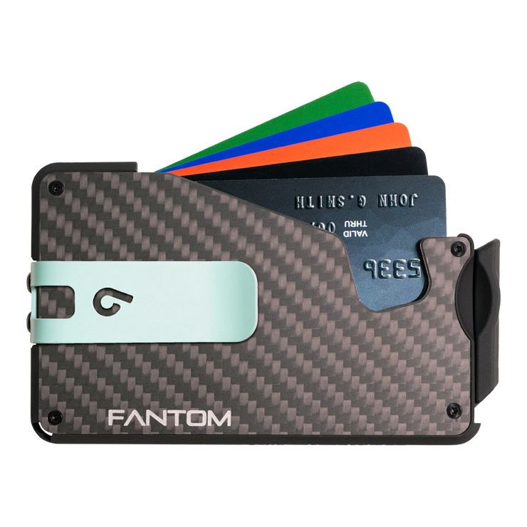 Fantom S 7 Coin Holder Carbon Fibre Wallet - Teal Money Clip