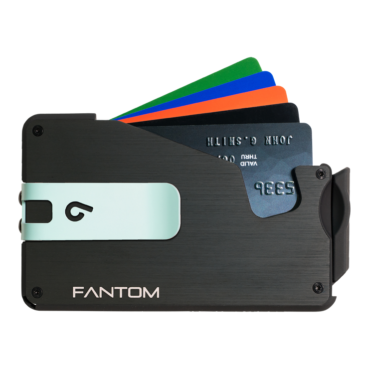 Fantom S 10 Regular Aluminium Wallet (Black) - Teal Money Clip