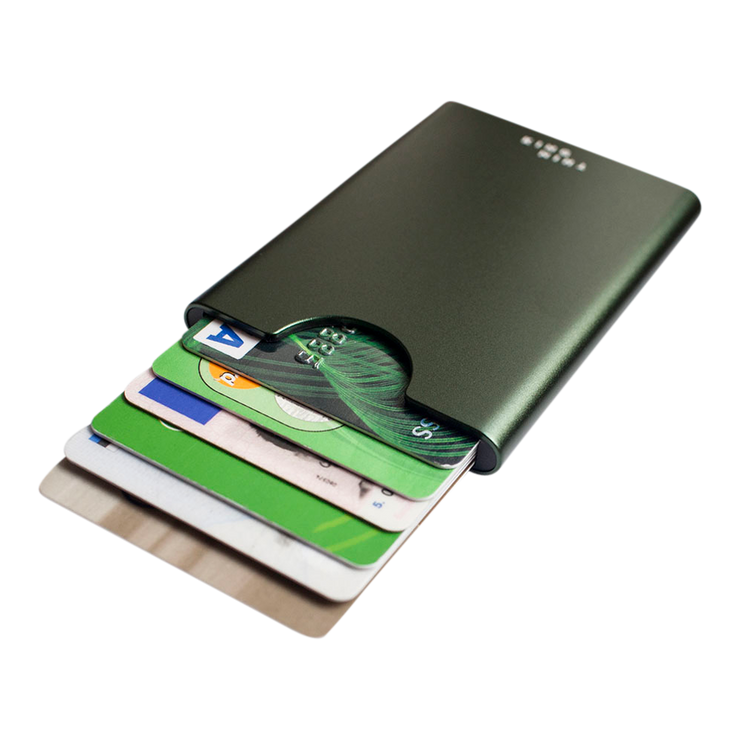 Thin King Gorditio Aluminium Card Case (Bullitt Green) - Cards Fanned