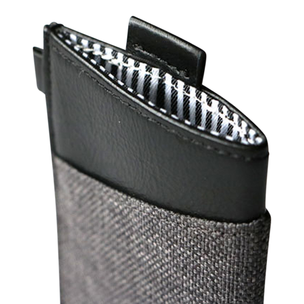 Loft of Cambie Wolyt Sleeve with RFID Shield (Heather Black) - Pull Tab