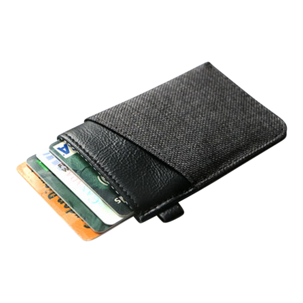 Loft of Cambie Wolyt Sleeve with RFID Shield (Heather Black) - Cards Fanned