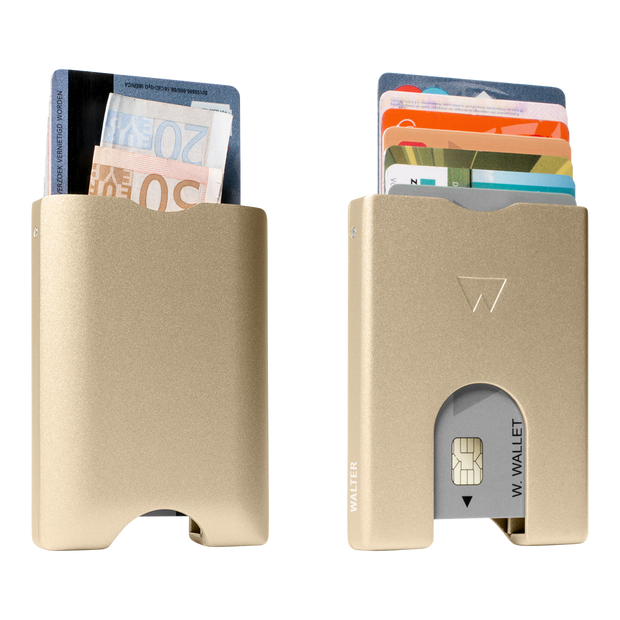 Walter Stack & Slide Aluminium Card Wallet (Gold) - Front & Back View