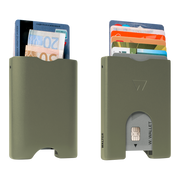 Walter Stack & Slide Aluminium Card Wallet (Olive Green) - Front & Back View