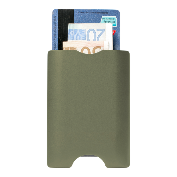 Walter Stack & Slide Aluminium Card Wallet (Olive Green) - Back View