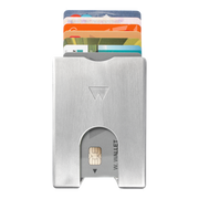 Walter Stack & Slide Aluminium Card Wallet (Raw Silver) - Front View