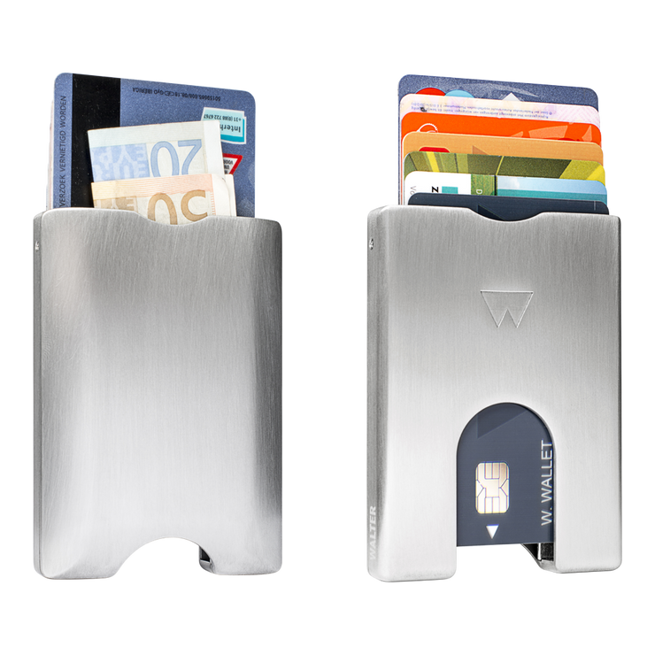 Walter Stack & Slide Aluminium Card Wallet (Raw Silver) - Front & Back View