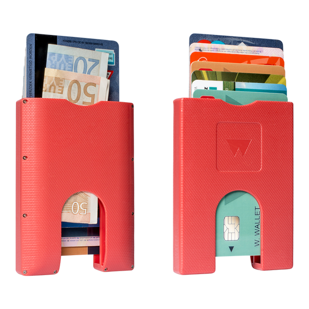 Walter Stack & Slide ABS Card Wallet (Jet Red) - Front & Back View