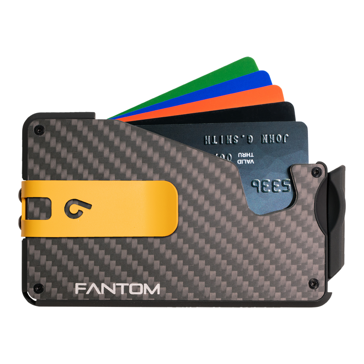 Fantom S 7 Coin Holder Carbon Fibre Wallet - Yellow Money Clip