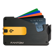Fantom S 13 Coin Holder Aluminium Wallet (Black) - Yellow Money Clip