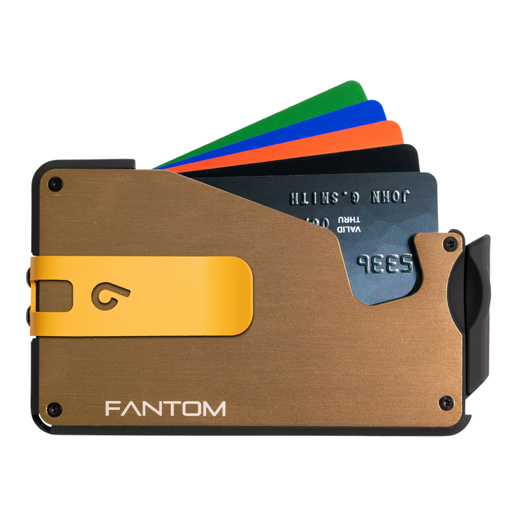 Fantom S 10 Regular Aluminium Wallet (Gold) - Yellow Money Clip