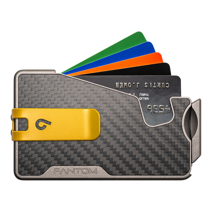 Fantom R 10 Carbon Fibre Wallet - Yellow Money Clip