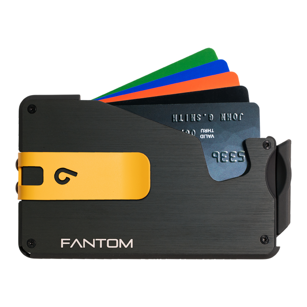 Fantom S 7 Regular Aluminium Wallet (Black) - Yellow Money Clip