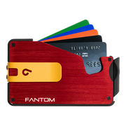 Fantom S 10 Coin Holder Aluminium Wallet (Red) - Yellow Money Clip