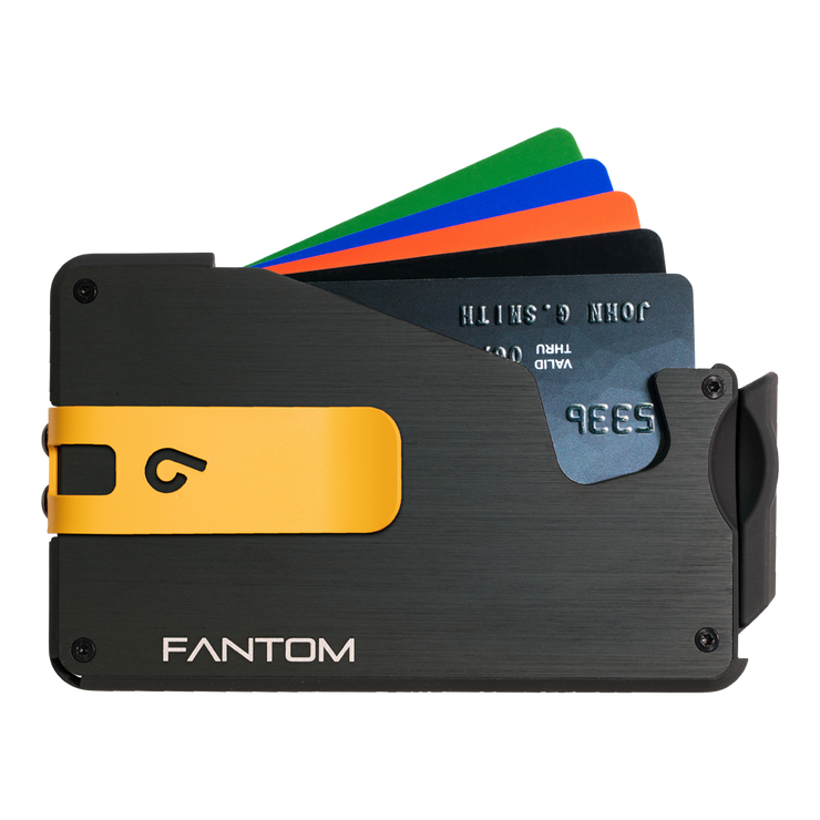Fantom S 10 Coin Holder Aluminium Wallet (Black) - Yellow Money Clip