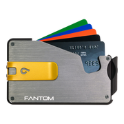 Fantom S 13 Regular Aluminium Wallet (Silver) - Yellow Money Clip