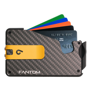 Fantom S 10 Coin Holder Carbon Fibre Wallet - Yellow Money Clip