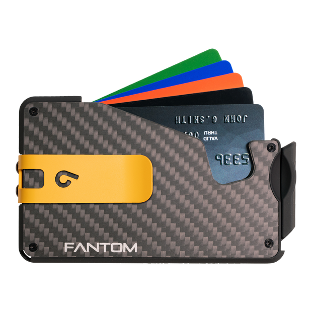 Fantom S 13 Regular Carbon Fibre Wallet - Yellow Money Clip