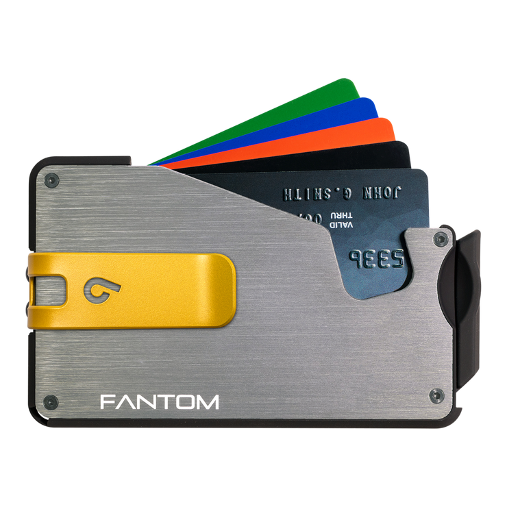 Fantom S 10 Coin Holder Aluminium Wallet (Silver) - Yellow Money Clip