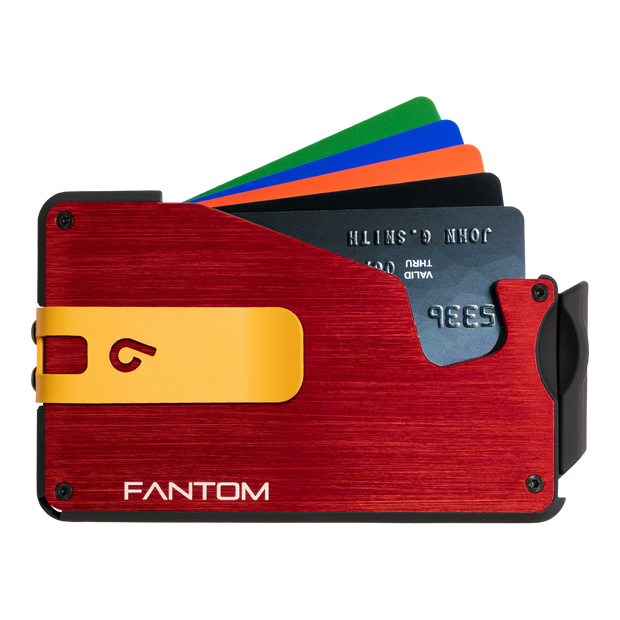 Fantom S 7 Regular Aluminium Wallet (Red) - Yellow Money Clip
