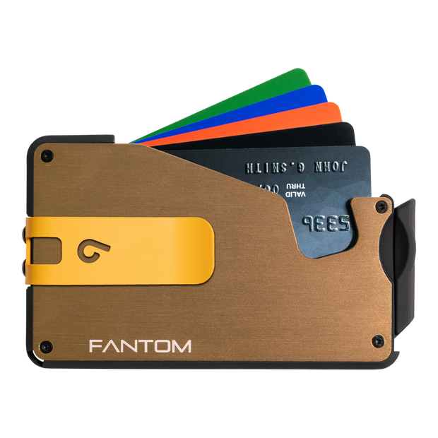 Fantom S 10 Coin Holder Aluminium Wallet (Gold) - Yellow Money Clip