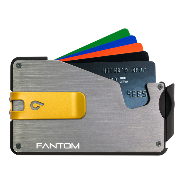 Fantom S 7 Coin Holder Aluminium Wallet (Silver) - Yellow Money Clip