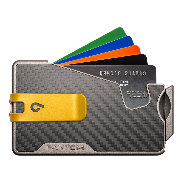 Fantom R 7 Carbon Fibre Wallet - Yellow Money Clip