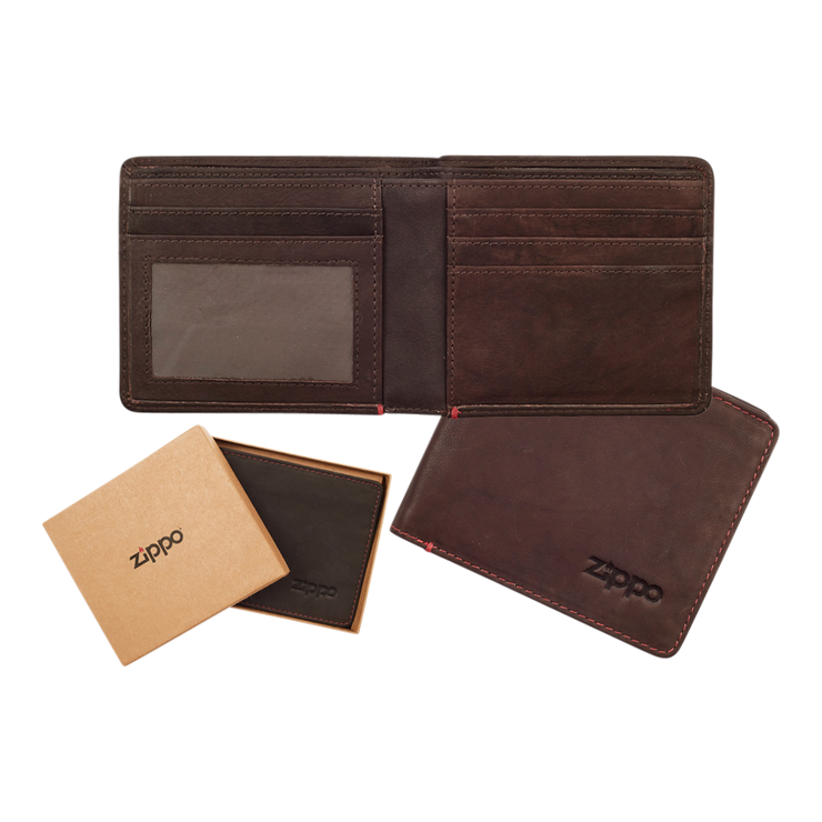 Zippo Leather Bifold Wallet (Brown) - Complete View